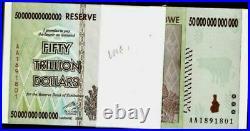 Zimbabwe 50 Trillion Dollars x 100 Pcs AA 10 20 & 100 Trillion Series UNC Bundle