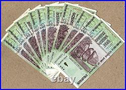 Zimbabwe 50 Trillion Dollars x 10 pcs AA 2008 P90 VF currency bills