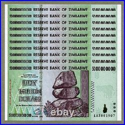 Zimbabwe 50 Trillion Dollars x 10 pcs AA 2008 P90 consecutive UNC currency bills