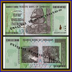 Zimbabwe 50 Trillion Dollars x 500 Pcs Bundle, 2008 AA 1/2 Brick UNC