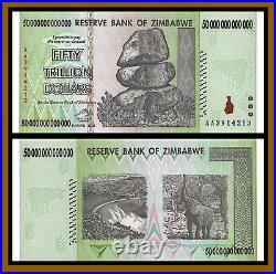 Zimbabwe 50 Trillion Dollars x 5 Pcs Bundle, 2008 AA, 100 Trillion Series Unc