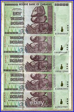 Zimbabwe 50 Trillion Dollars x 5 pcs AA 2008 P90 VF currency bills