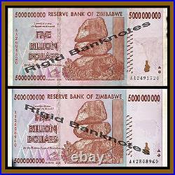 Zimbabwe 5 Billion Dollars x 100 Pcs Bundle, 2008 AA/AB Cir, 50 Trillion Series