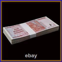 Zimbabwe 5 Billion Dollars x 25 Pcs Bundle, 2008 AA/AB Cir, 100 Trillion Series