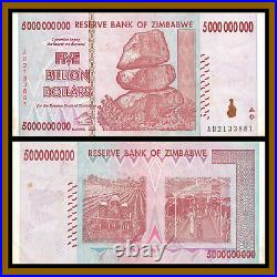 Zimbabwe 5 Billion Dollars x 500 Pcs Half Brick, 2008 AA/AB Cir