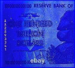 Zimbabwe 5 Pieces 100 Trillion Dollars AA 2008 P-91 UNC AUTHENTIC, UV Passed