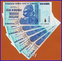 Zimbabwe 5 X 100 TRILLION Dollars AA 2008 Pick-91 UNC AUTHENTIC & UV PASSED