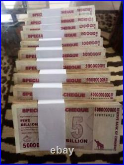 Zimbabwe $5 billion Dollars. 2008. Agro Cheque. 1000 pieces. Brick. Used. Circ