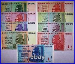 Zimbabwe 9 highest denom. Banknotes-inc 10,20,50,100 Trillion Dollars-currency