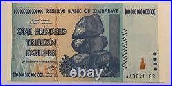 Zimbabwe Banknote. 100 Trillion Dollars. Unc. Dated 2008. P91