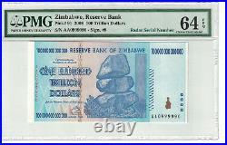 Zimbabwe Radar Serial# 0999990 100 Trillion Dollars 2008 Pick# 91 PMG64 (#1379)