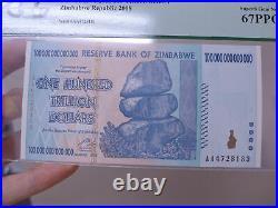 Zimbabwe Reserve/Bank 100 Trillion Dollars PCGS 67 PPQ 2008 AA P-91 Gem New Note